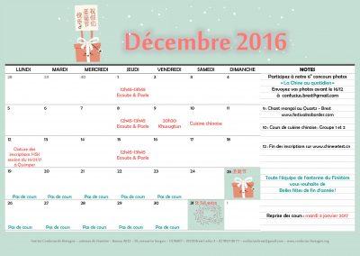 Planning décembre 2016