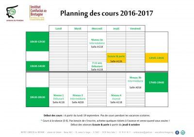 Planning des cours 2016-2017